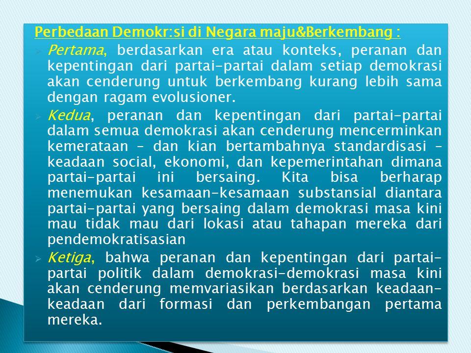 Perbedaan Demokr:si di Negara maju&Berkembang :