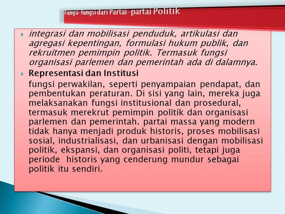 Fungsi-fungsi dari Partai-partai Politik