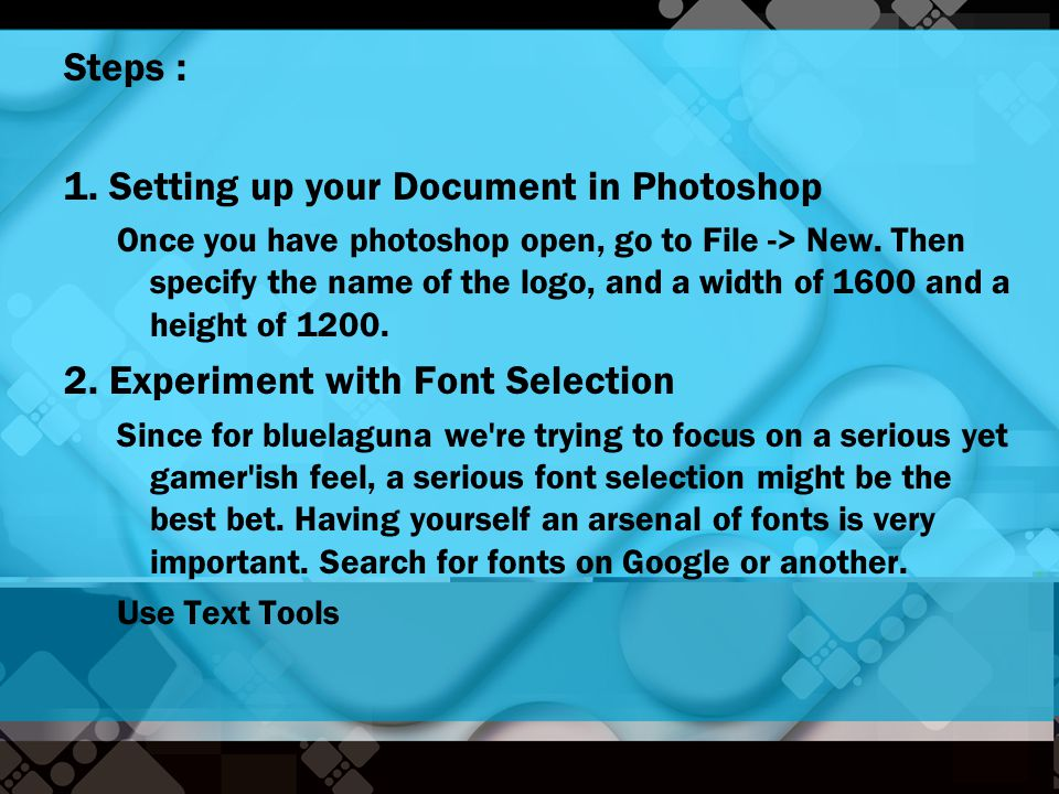 1. Setting up your Document in Photoshop