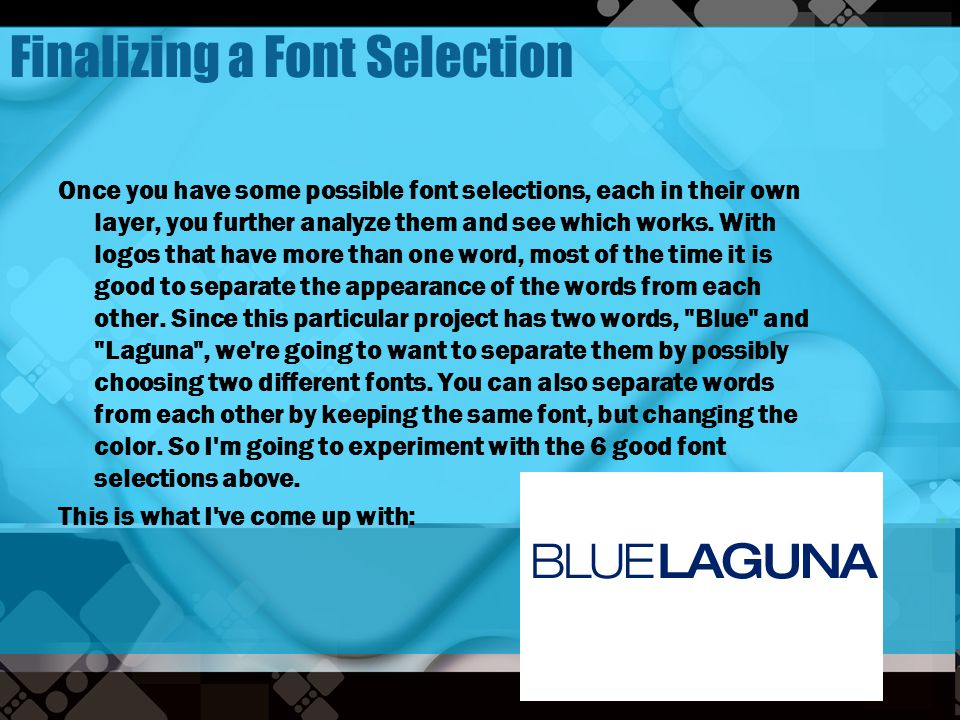 Finalizing a Font Selection