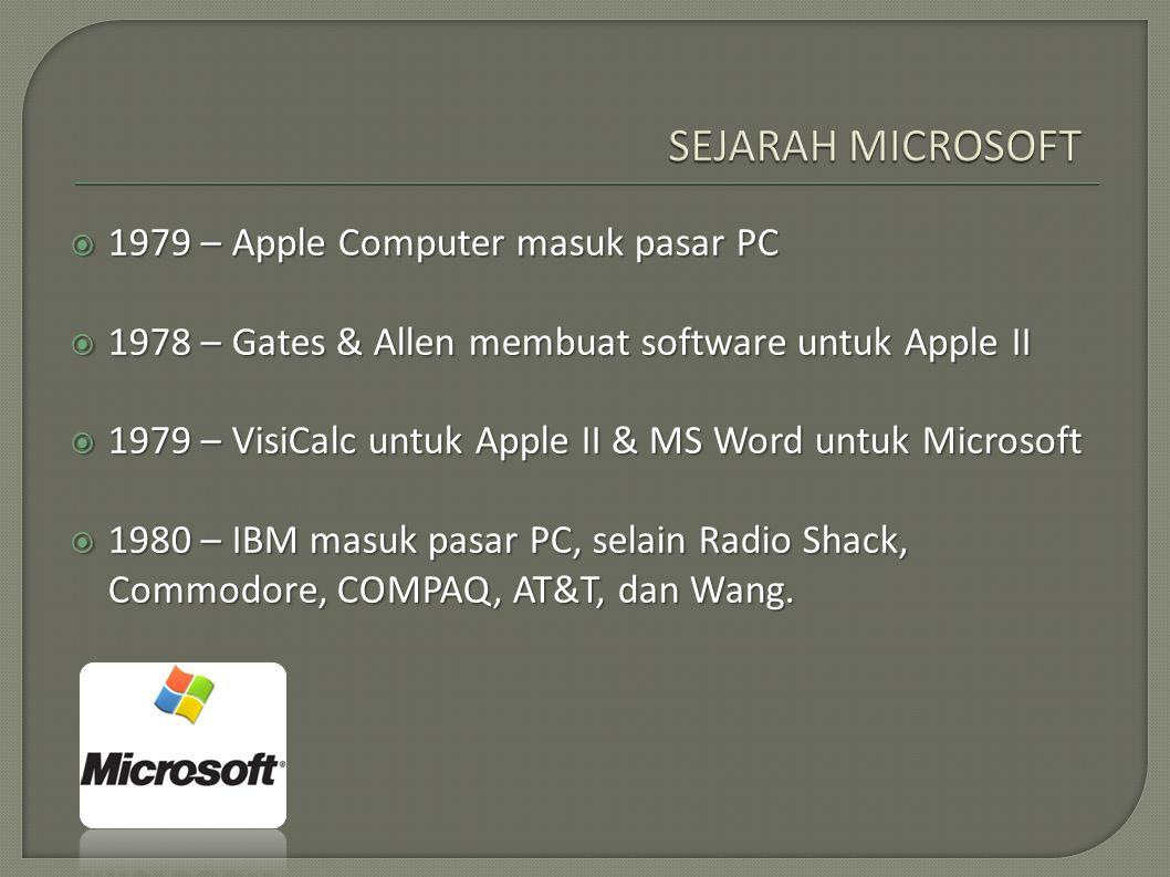 SEJARAH MICROSOFT 1979 – Apple Computer masuk pasar PC