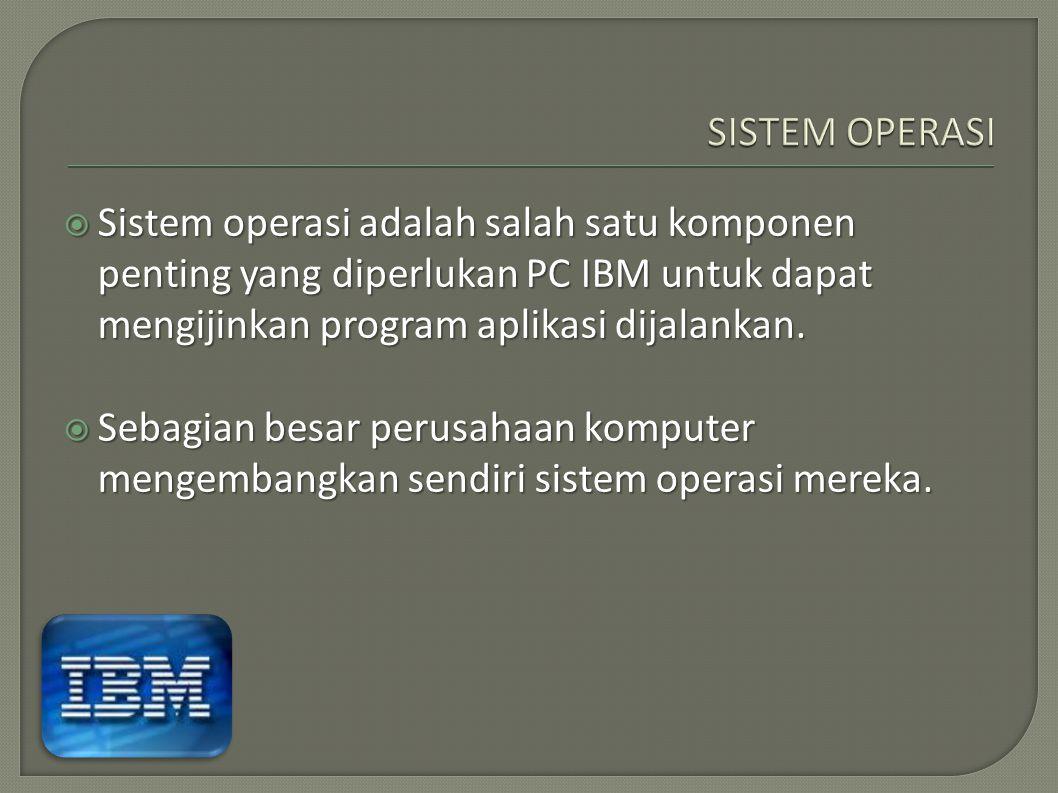 SISTEM OPERASI Sistem operasi adalah salah satu komponen penting yang diperlukan PC IBM untuk dapat mengijinkan program aplikasi dijalankan.