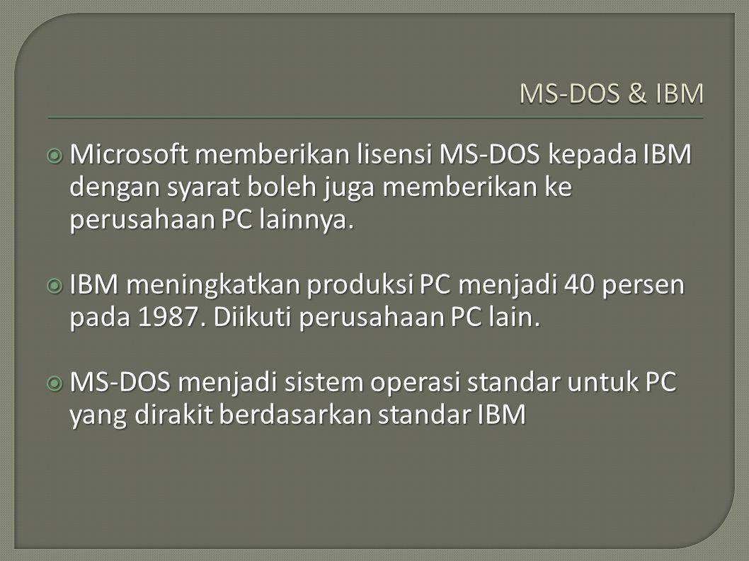 MS-DOS & IBM Microsoft memberikan lisensi MS-DOS kepada IBM dengan syarat boleh juga memberikan ke perusahaan PC lainnya.