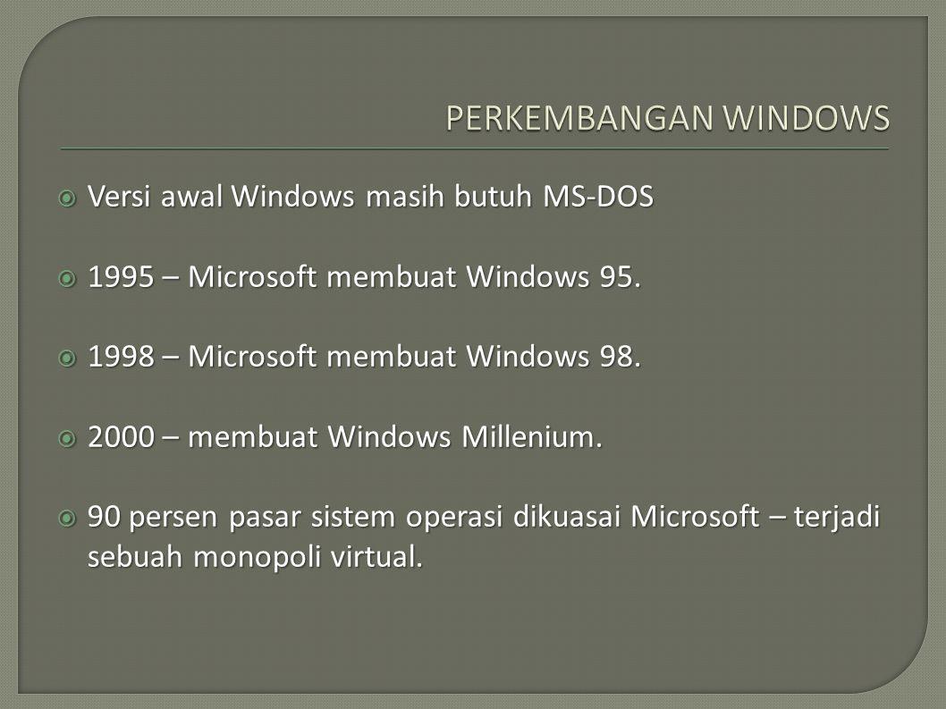 PERKEMBANGAN WINDOWS Versi awal Windows masih butuh MS-DOS