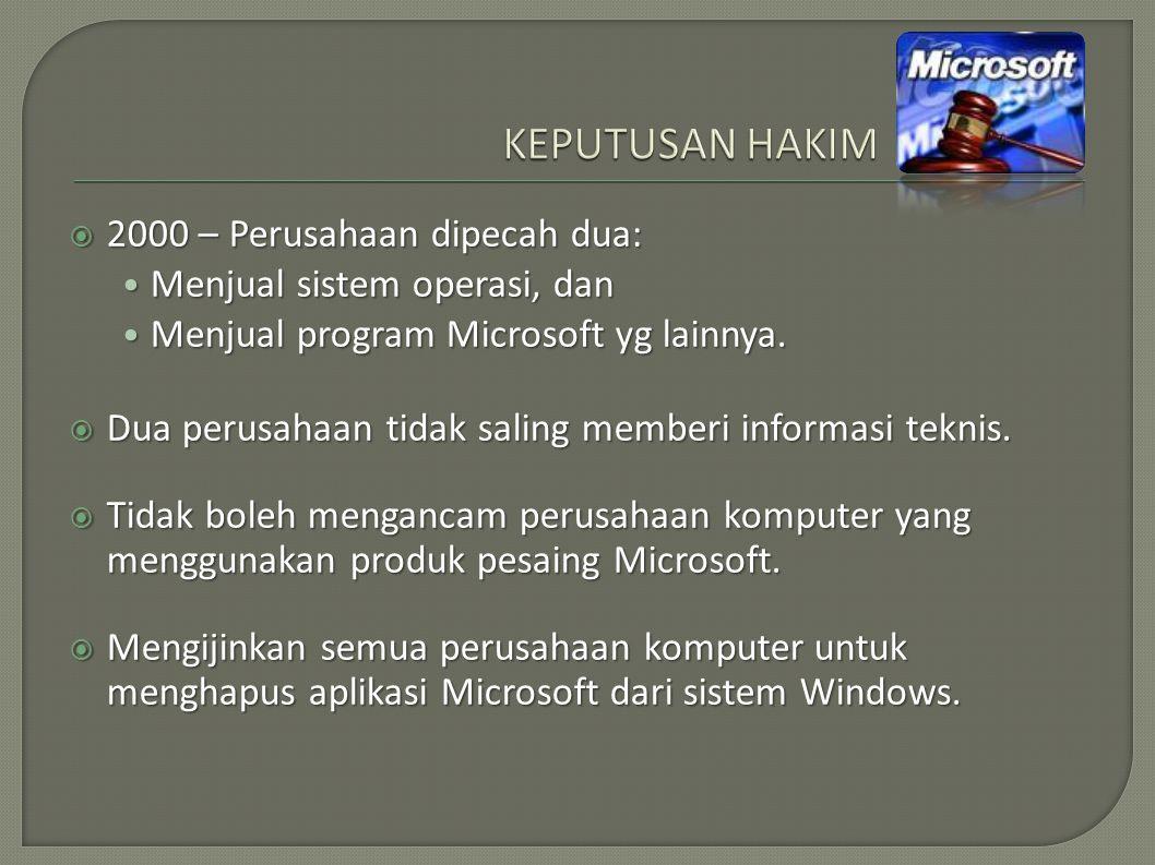 KEPUTUSAN HAKIM 2000 – Perusahaan dipecah dua: