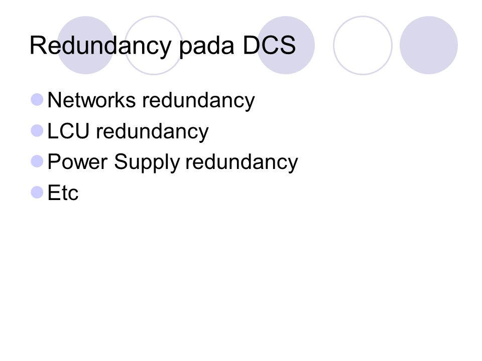Redundancy pada DCS Networks redundancy LCU redundancy
