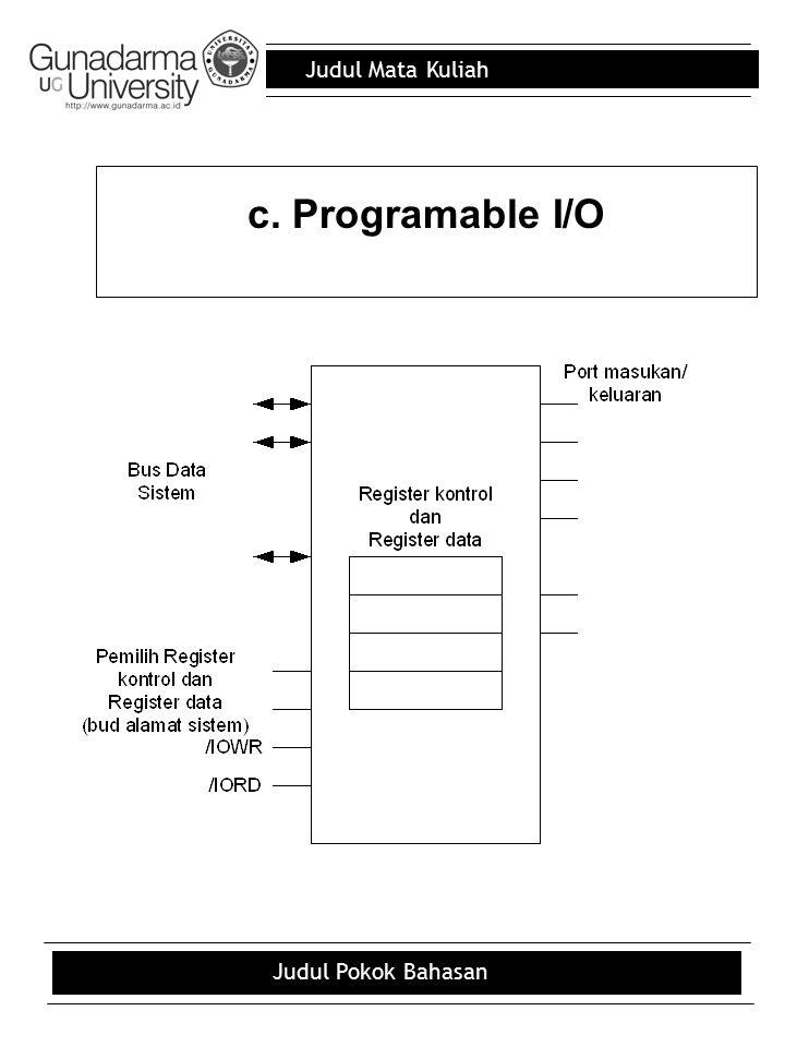 c. Programable I/O Judul Pokok Bahasan