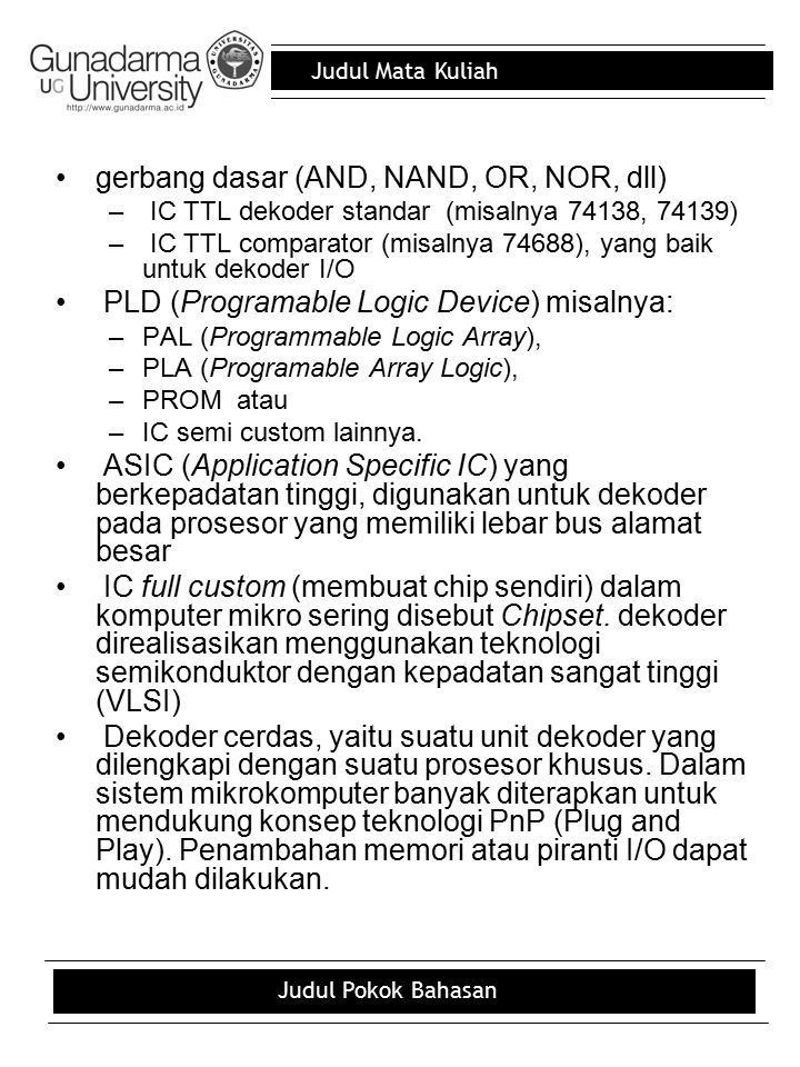 gerbang dasar (AND, NAND, OR, NOR, dll)