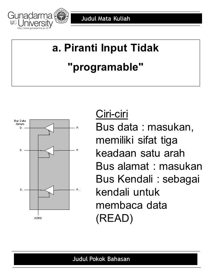 a. Piranti Input Tidak programable