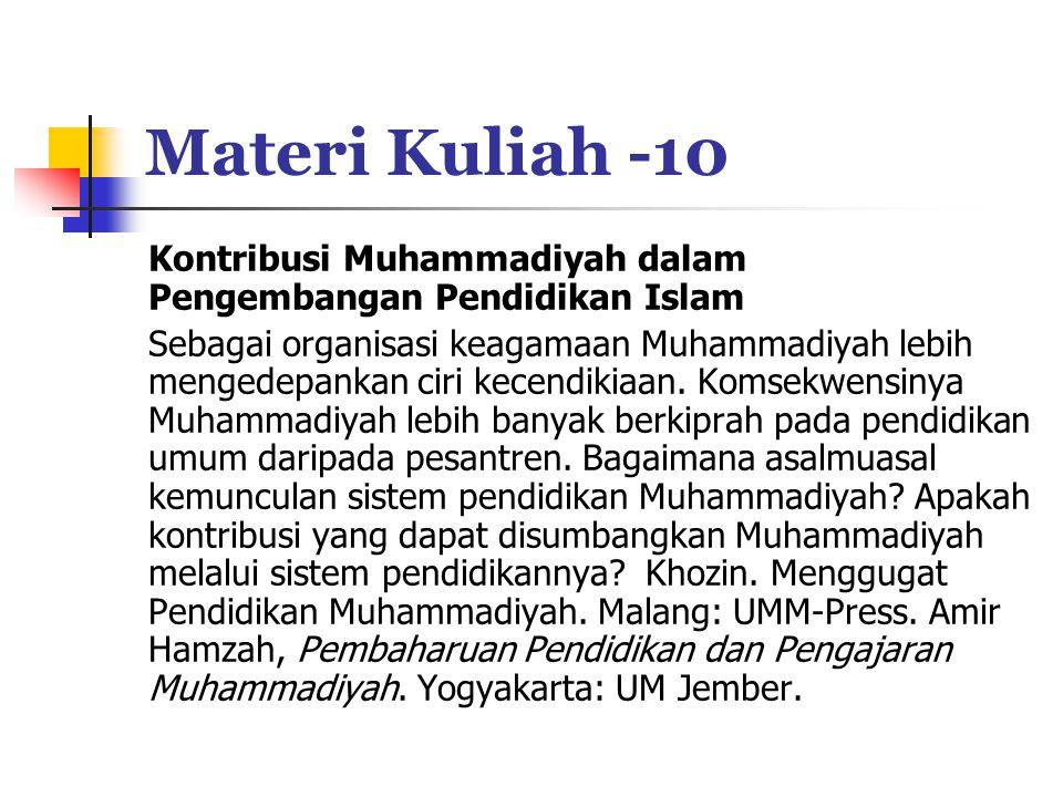 Materi Kuliah -10 Kontribusi Muhammadiyah dalam Pengembangan Pendidikan Islam.
