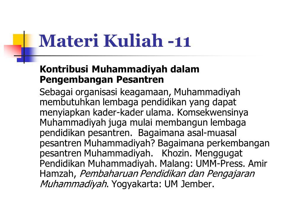 Materi Kuliah -11 Kontribusi Muhammadiyah dalam Pengembangan Pesantren