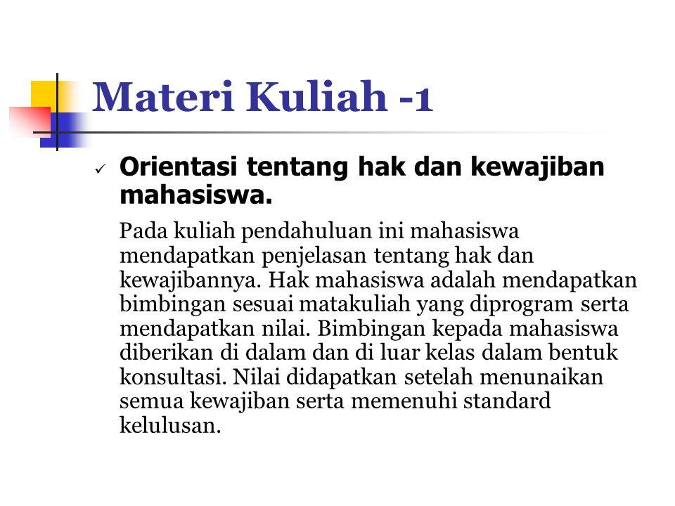 Materi Kuliah -1 Orientasi tentang hak dan kewajiban mahasiswa.