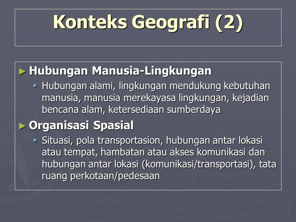 Konteks Geografi (2) Hubungan Manusia-Lingkungan Organisasi Spasial