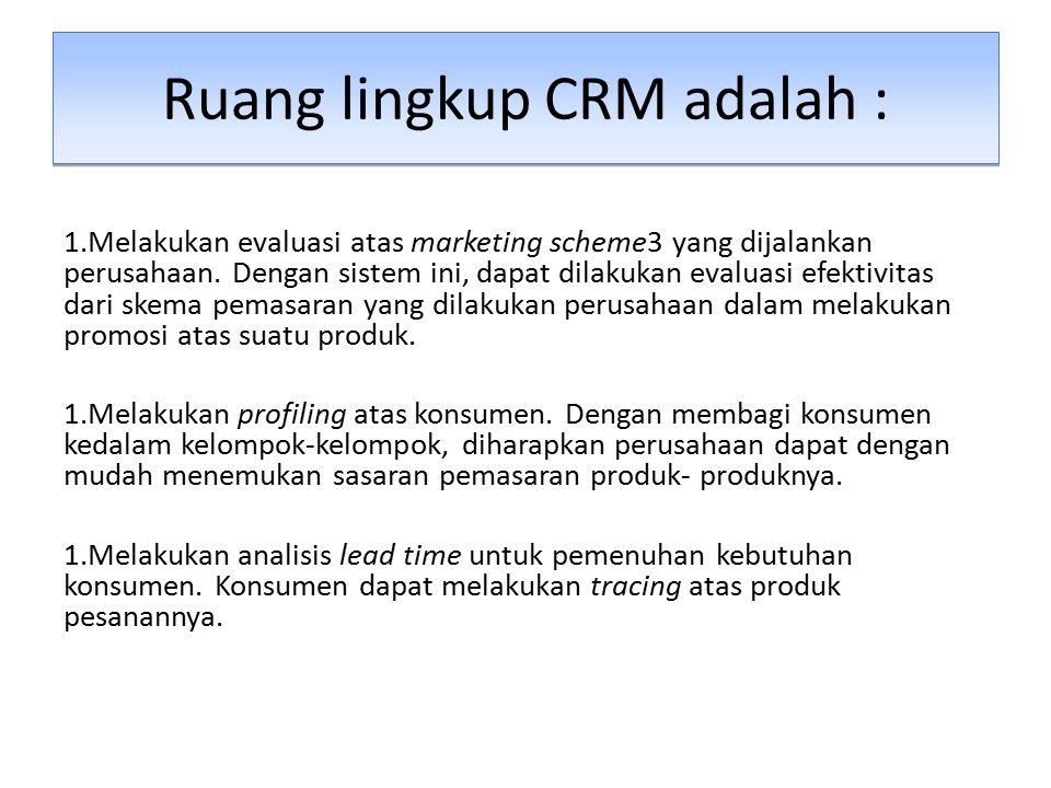 Ruang lingkup CRM adalah :