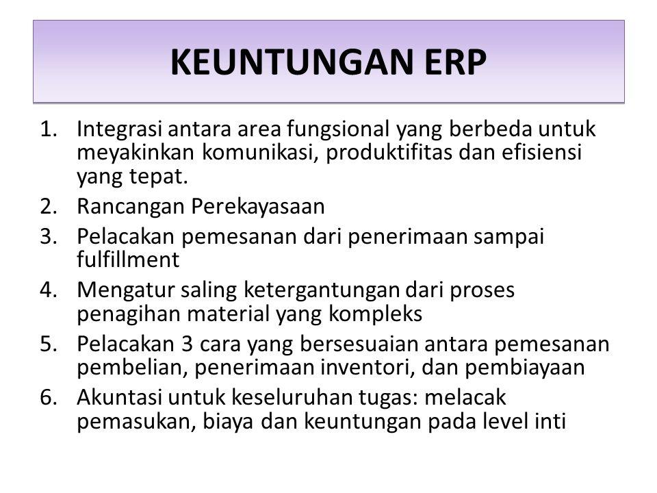 KEUNTUNGAN ERP Integrasi antara area fungsional yang berbeda untuk meyakinkan komunikasi, produktifitas dan efisiensi yang tepat.