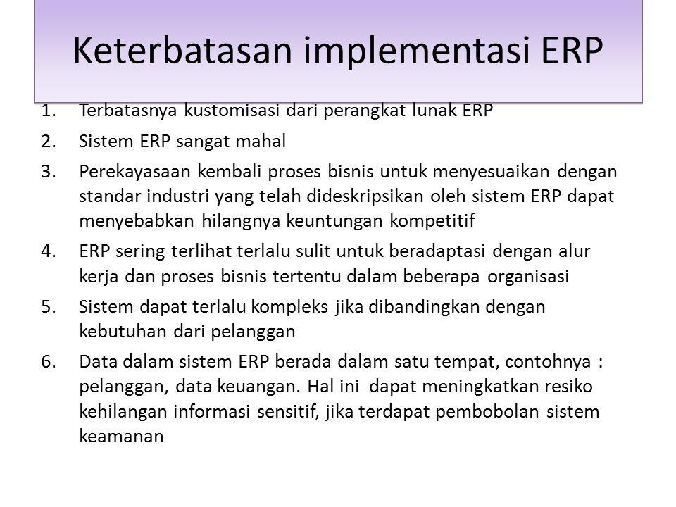 Keterbatasan implementasi ERP