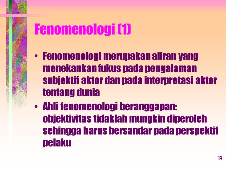 Fenomenologi (1) Fenomenologi merupakan aliran yang menekankan fukus pada pengalaman subjektif aktor dan pada interpretasi aktor tentang dunia.