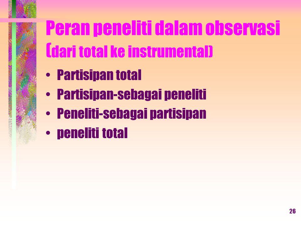 Peran peneliti dalam observasi (dari total ke instrumental)