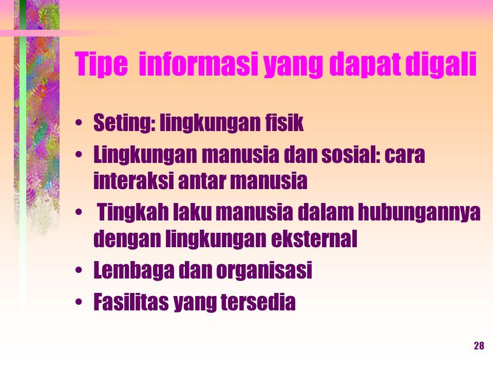 Tipe informasi yang dapat digali