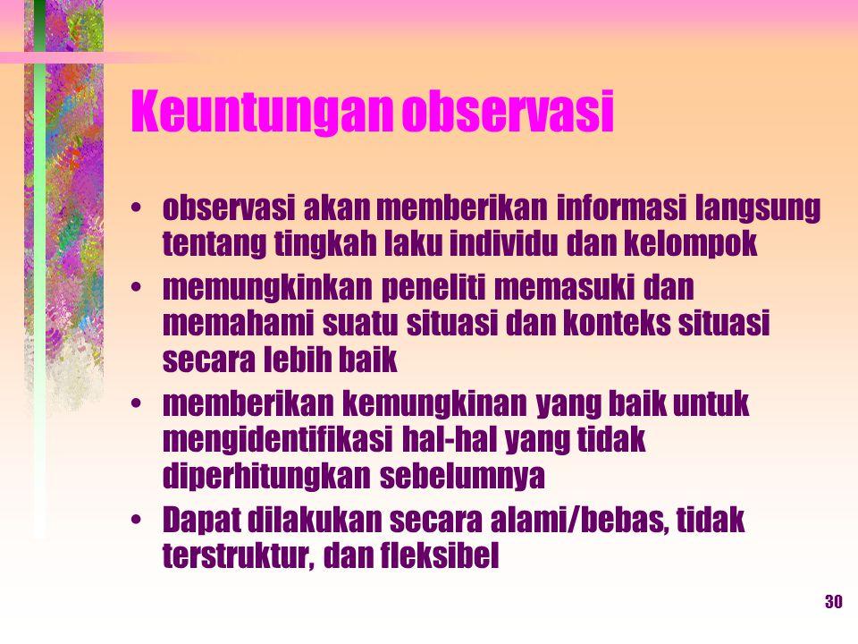 Keuntungan observasi observasi akan memberikan informasi langsung tentang tingkah laku individu dan kelompok.