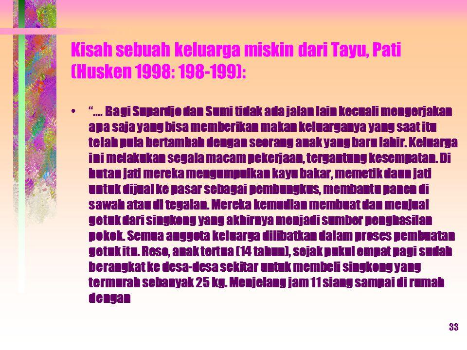 Kisah sebuah keluarga miskin dari Tayu, Pati (Husken 1998: 198-199):