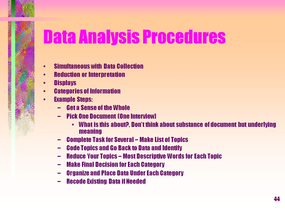 Data Analysis Procedures