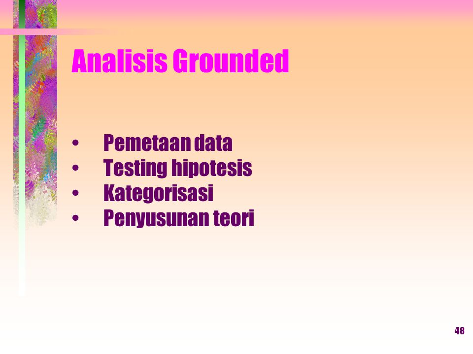 Analisis Grounded Pemetaan data Testing hipotesis Kategorisasi