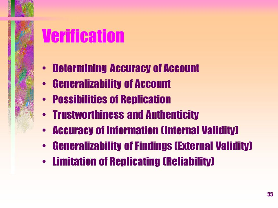 Verification Determining Accuracy of Account