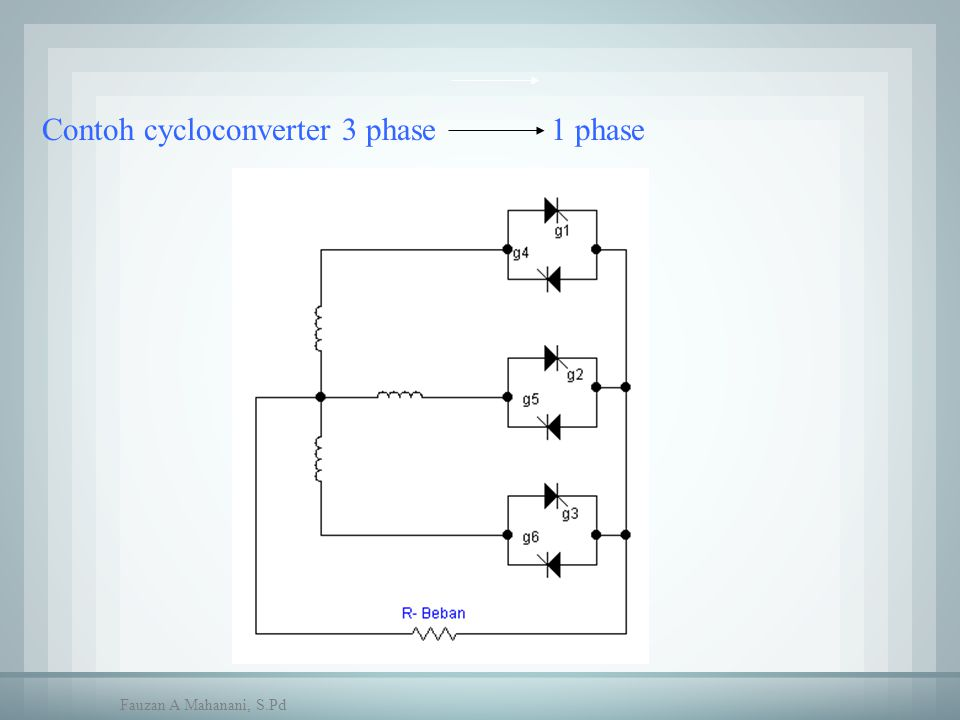 Contoh cycloconverter 3 phase 1 phase