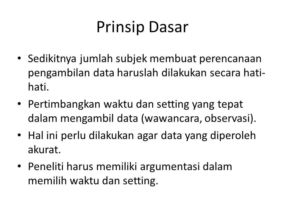 Prinsip Dasar Sedikitnya jumlah subjek membuat perencanaan pengambilan data haruslah dilakukan secara hati-hati.