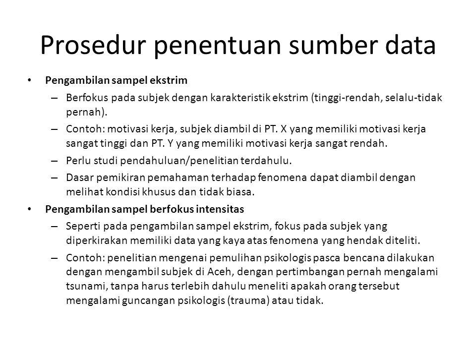 Prosedur penentuan sumber data