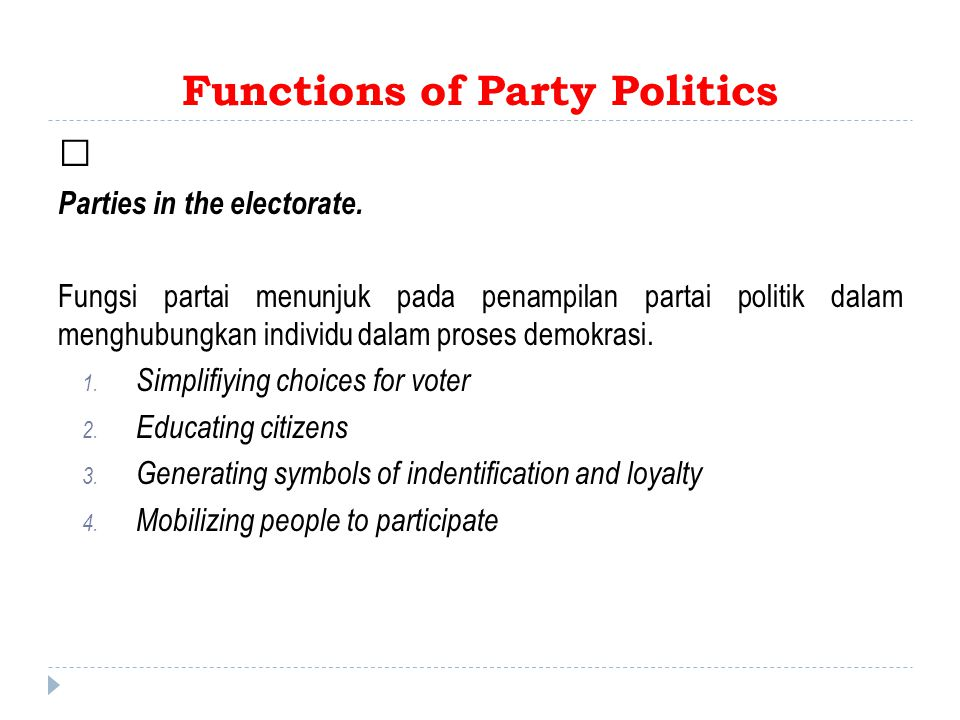 Functions of Party Politics