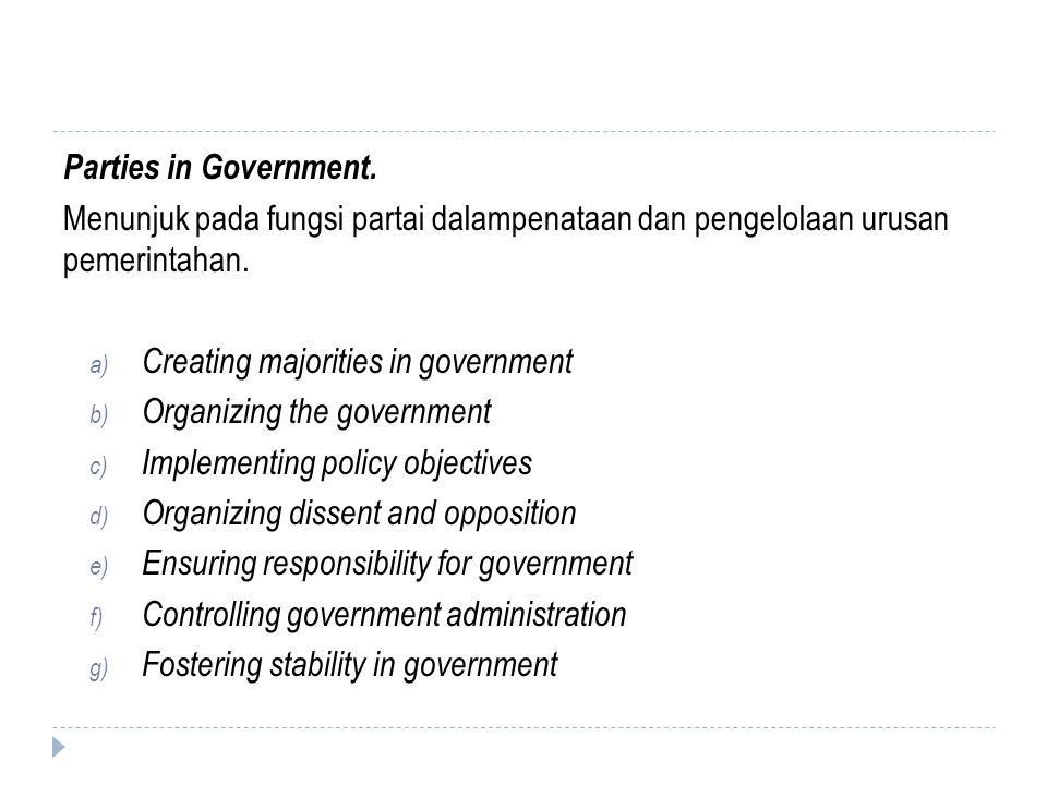 Parties in Government. Menunjuk pada fungsi partai dalampenataan dan pengelolaan urusan pemerintahan.