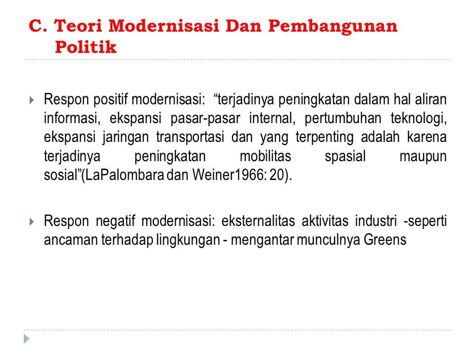 C. Teori Modernisasi Dan Pembangunan Politik