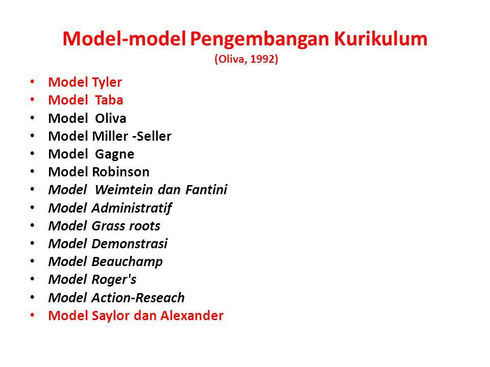 Model-model Pengembangan Kurikulum (Oliva, 1992)