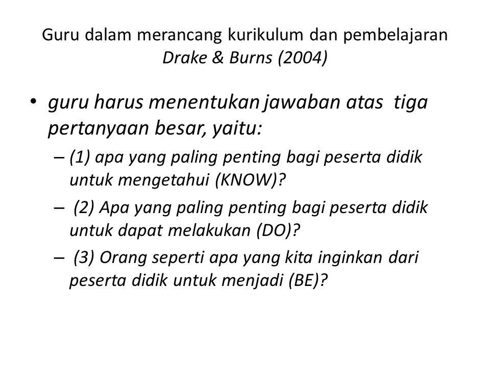 Guru dalam merancang kurikulum dan pembelajaran Drake & Burns (2004)
