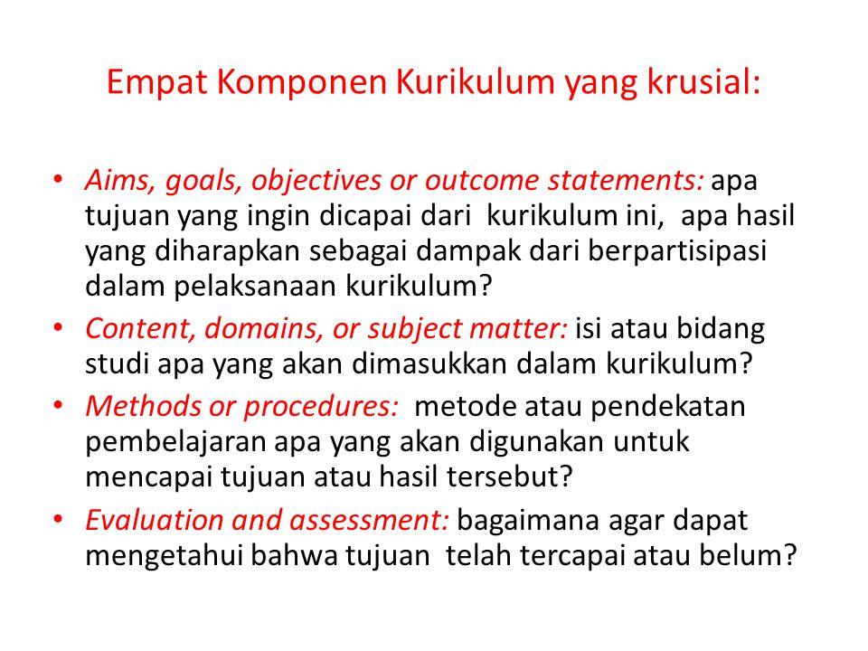 Empat Komponen Kurikulum yang krusial: