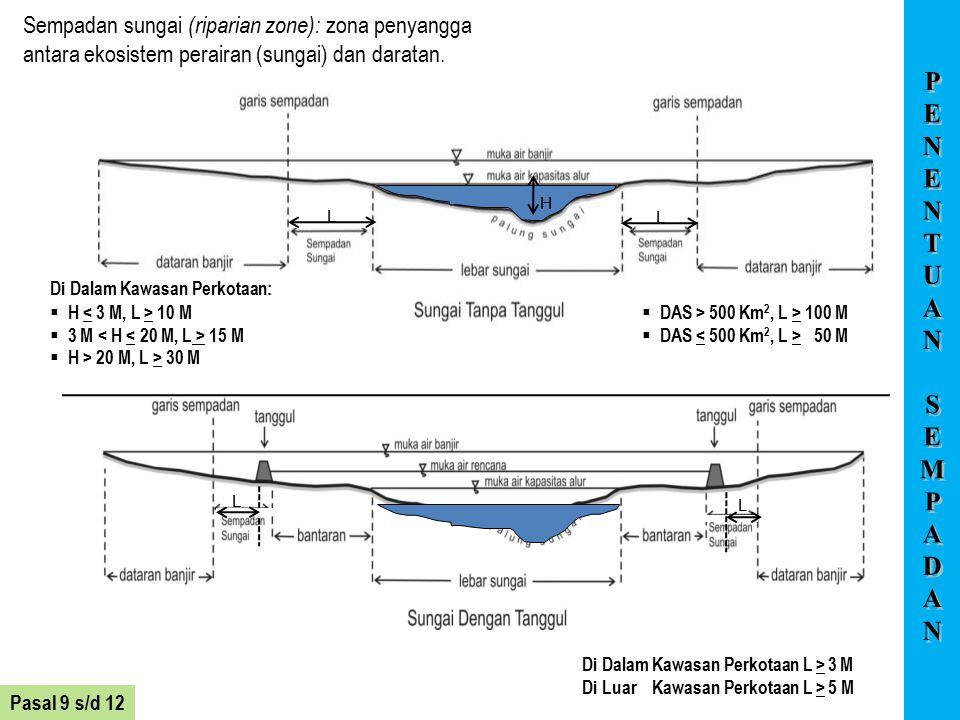 Sempadan sungai (riparian zone): zona penyangga antara ekosistem perairan (sungai) dan daratan.