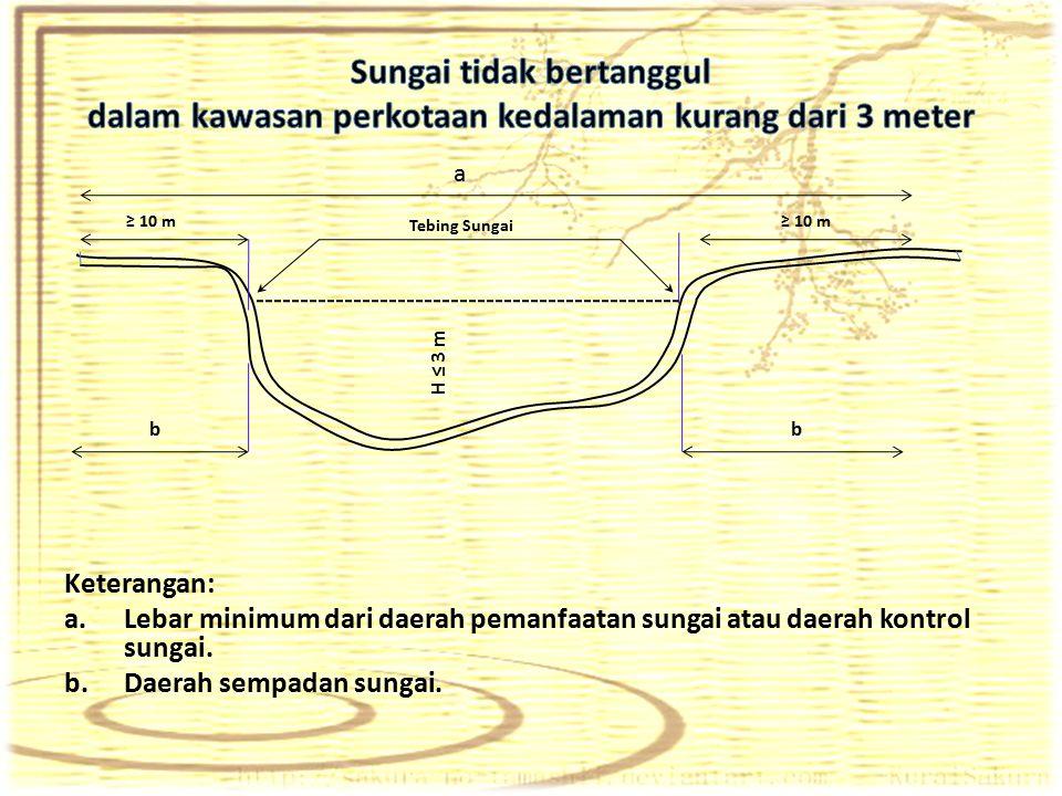 Sungai tidak bertanggul dalam kawasan perkotaan kedalaman kurang dari 3 meter