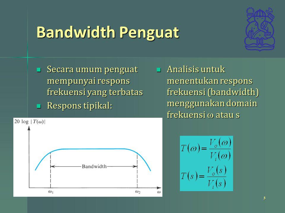 Bandwidth Penguat Secara umum penguat mempunyai respons frekuensi yang terbatas. Respons tipikal: