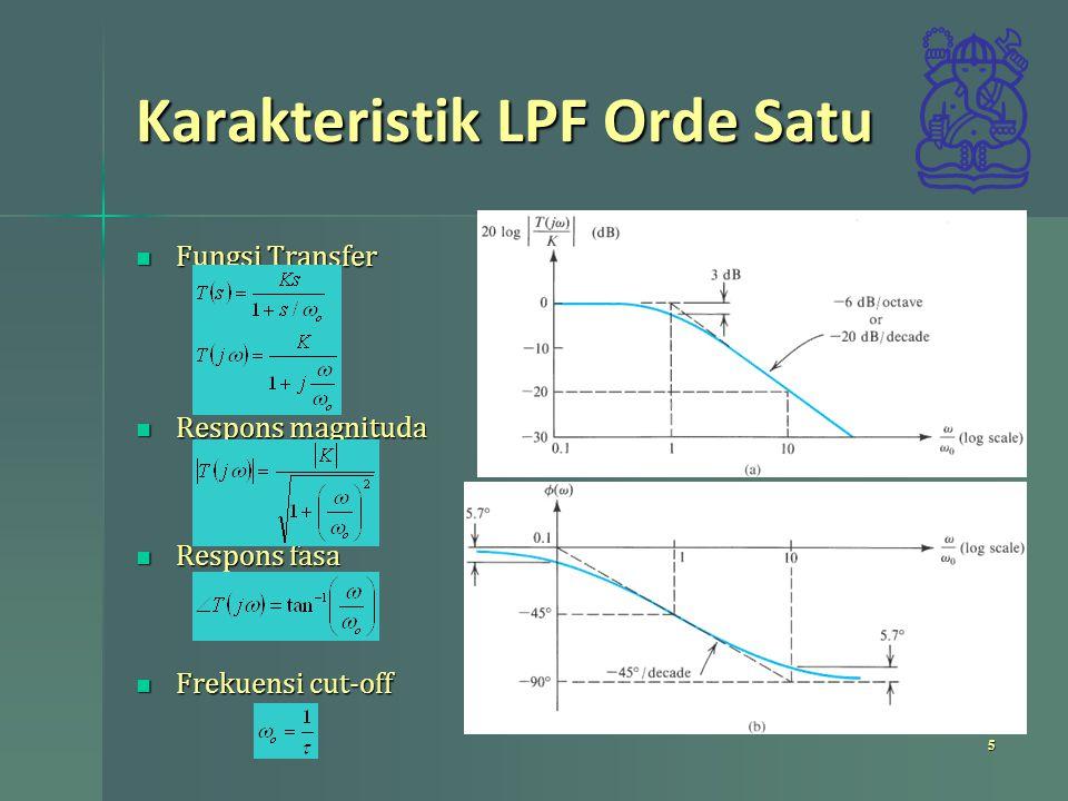 Karakteristik LPF Orde Satu