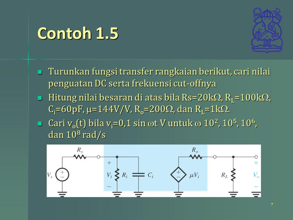 Contoh 1.5 Turunkan fungsi transfer rangkaian berikut, cari nilai penguatan DC serta frekuensi cut-offnya.