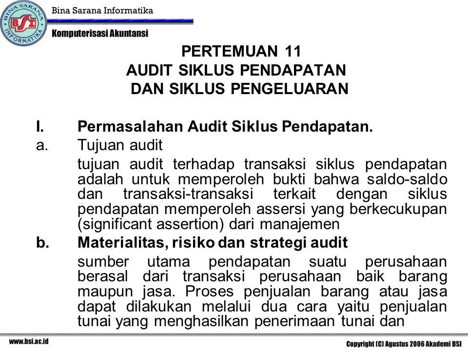 PERTEMUAN 11 AUDIT SIKLUS PENDAPATAN. DAN SIKLUS PENGELUARAN. Permasalahan Audit Siklus Pendapatan.
