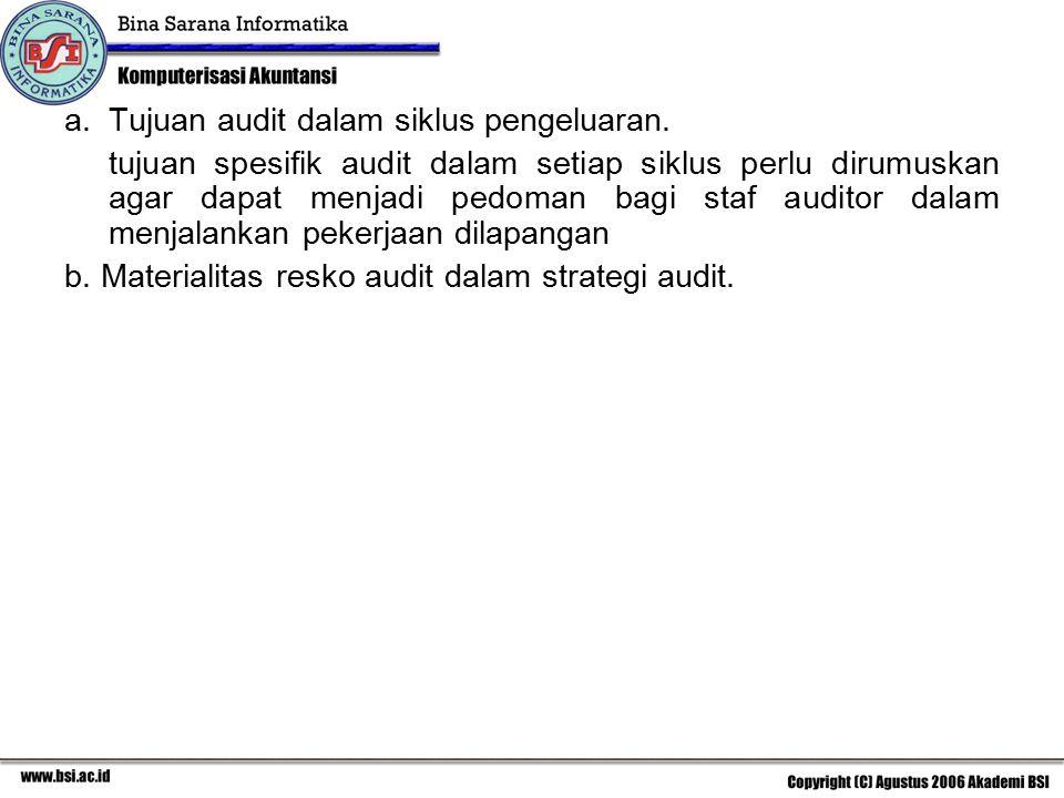 Tujuan audit dalam siklus pengeluaran.