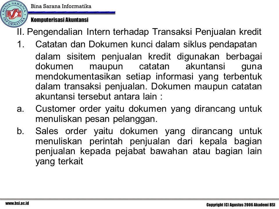 II. Pengendalian Intern terhadap Transaksi Penjualan kredit