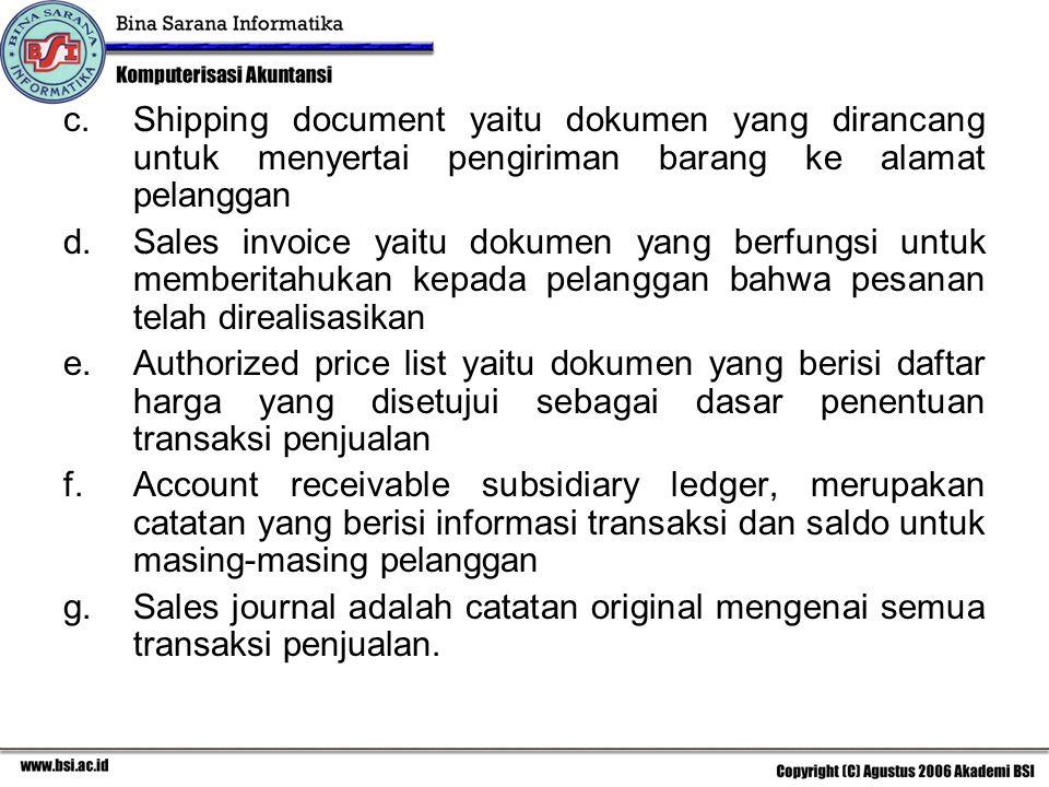 Shipping document yaitu dokumen yang dirancang untuk menyertai pengiriman barang ke alamat pelanggan