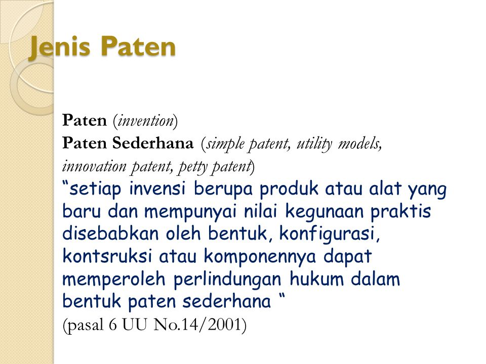 Jenis Paten Paten (invention)