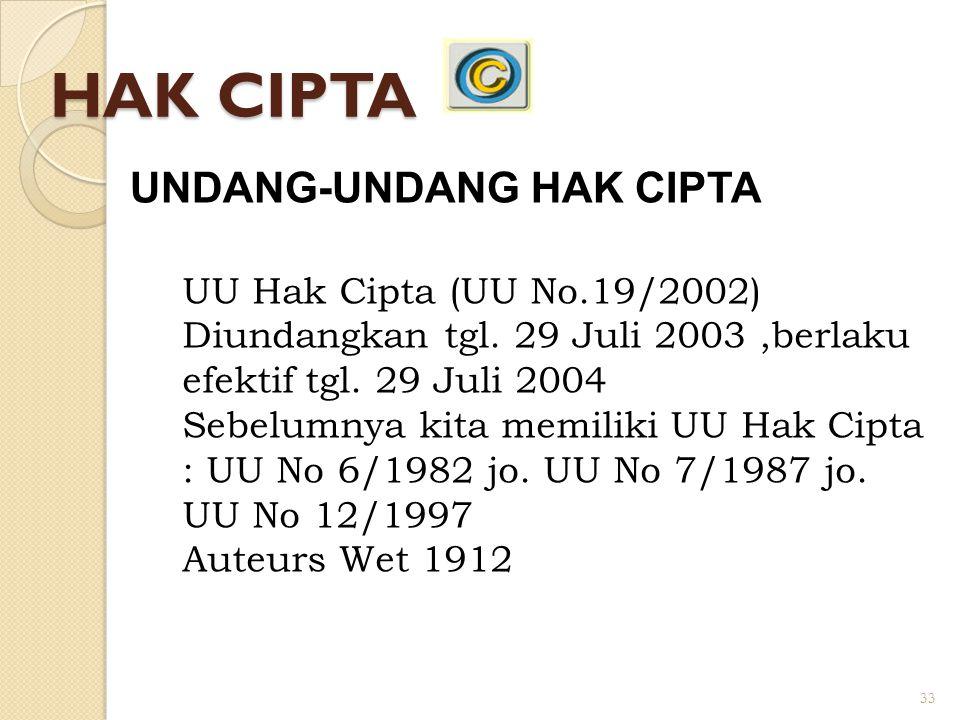 HAK CIPTA UNDANG-UNDANG HAK CIPTA UU Hak Cipta (UU No.19/2002)