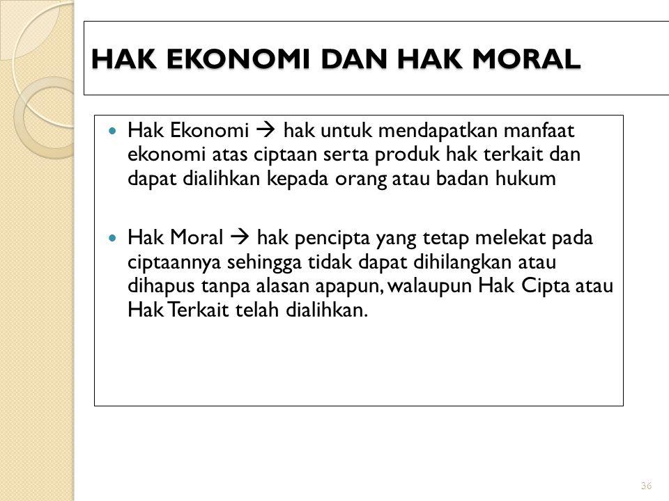HAK EKONOMI DAN HAK MORAL