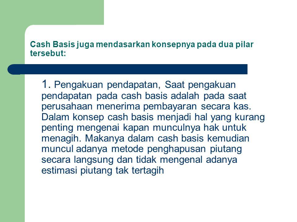 Cash Basis juga mendasarkan konsepnya pada dua pilar tersebut: